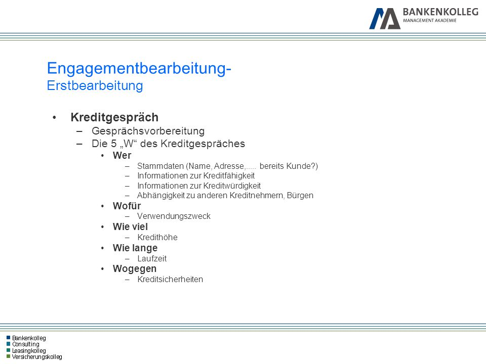 """Engagementbearbeitung- Erstbearbeitung Kreditgespräch –Gesprächsvorbereitung –Die 5 """"W"""" des Kreditgespräches Wer –Stammdaten (Name, Adresse,..... bere"""