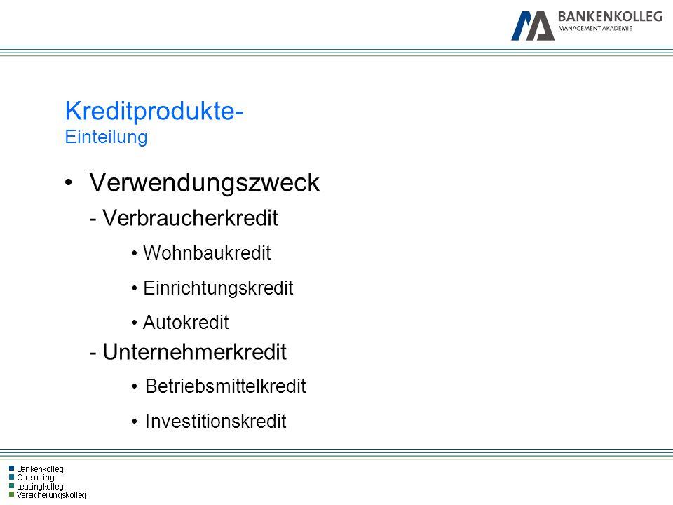 Verwendungszweck - Verbraucherkredit Wohnbaukredit Einrichtungskredit Autokredit - Unternehmerkredit Betriebsmittelkredit Investitionskredit Kreditpro