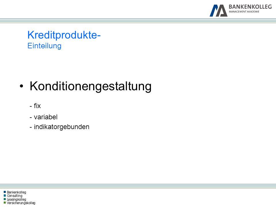 Kreditprodukte- Einteilung Konditionengestaltung - fix - variabel - indikatorgebunden