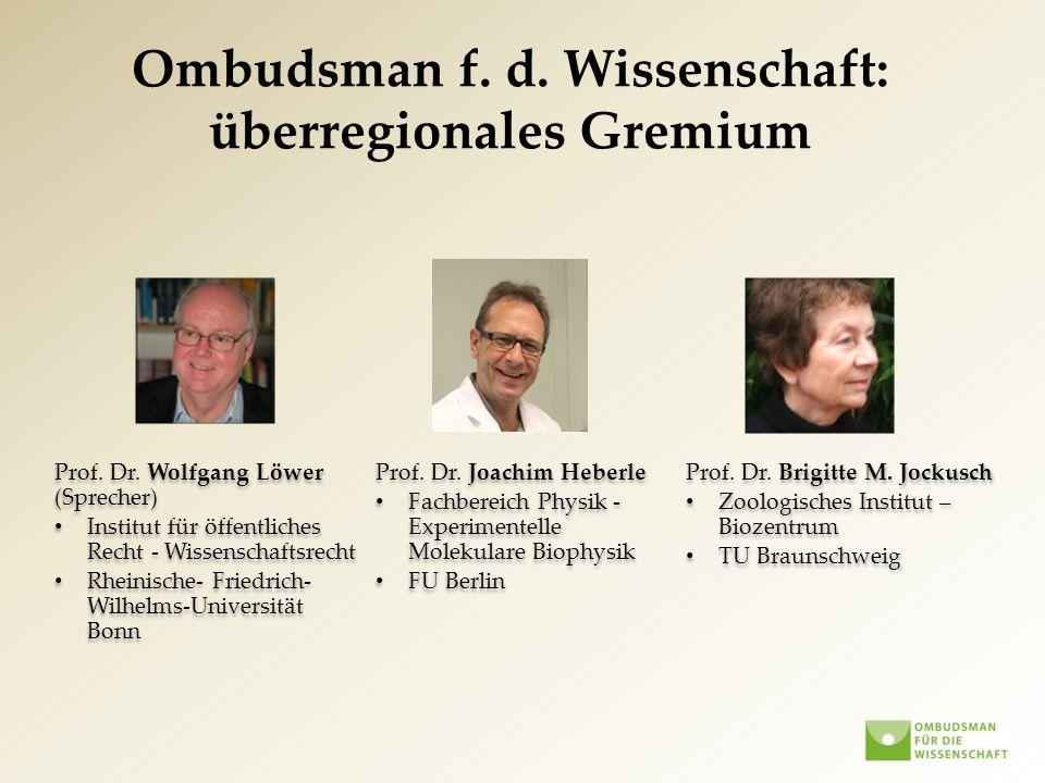 Prof. Dr. Wolfgang Löwer (Sprecher) Institut für öffentliches Recht - Wissenschaftsrecht Rheinische- Friedrich- Wilhelms-Universität Bonn Prof. Dr. Wo