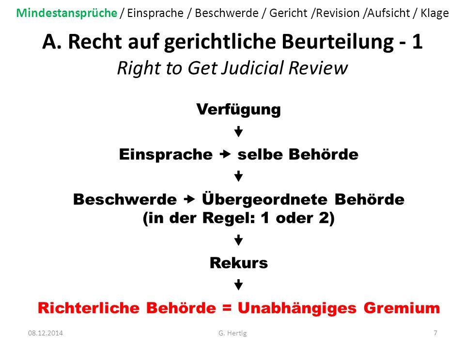 A. Recht auf gerichtliche Beurteilung - 1 Right to Get Judicial Review Verfügung  Einsprache  selbe Behörde  Beschwerde  Übergeordnete Behörde (in