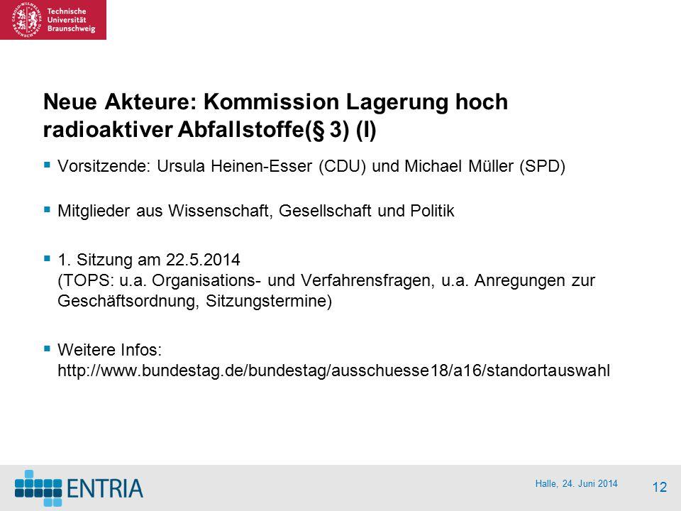 Halle, 24. Juni 2014 12 Neue Akteure: Kommission Lagerung hoch radioaktiver Abfallstoffe(§ 3) (I)  Vorsitzende: Ursula Heinen-Esser (CDU) und Michael
