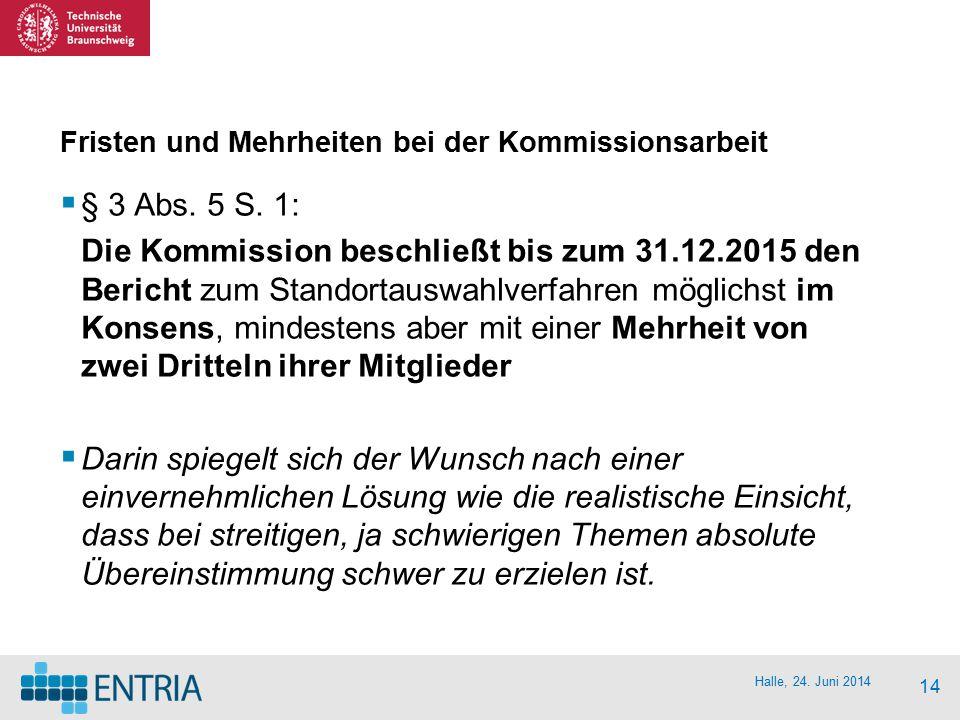 Halle, 24. Juni 2014 14 Fristen und Mehrheiten bei der Kommissionsarbeit  § 3 Abs. 5 S. 1: Die Kommission beschließt bis zum 31.12.2015 den Bericht z