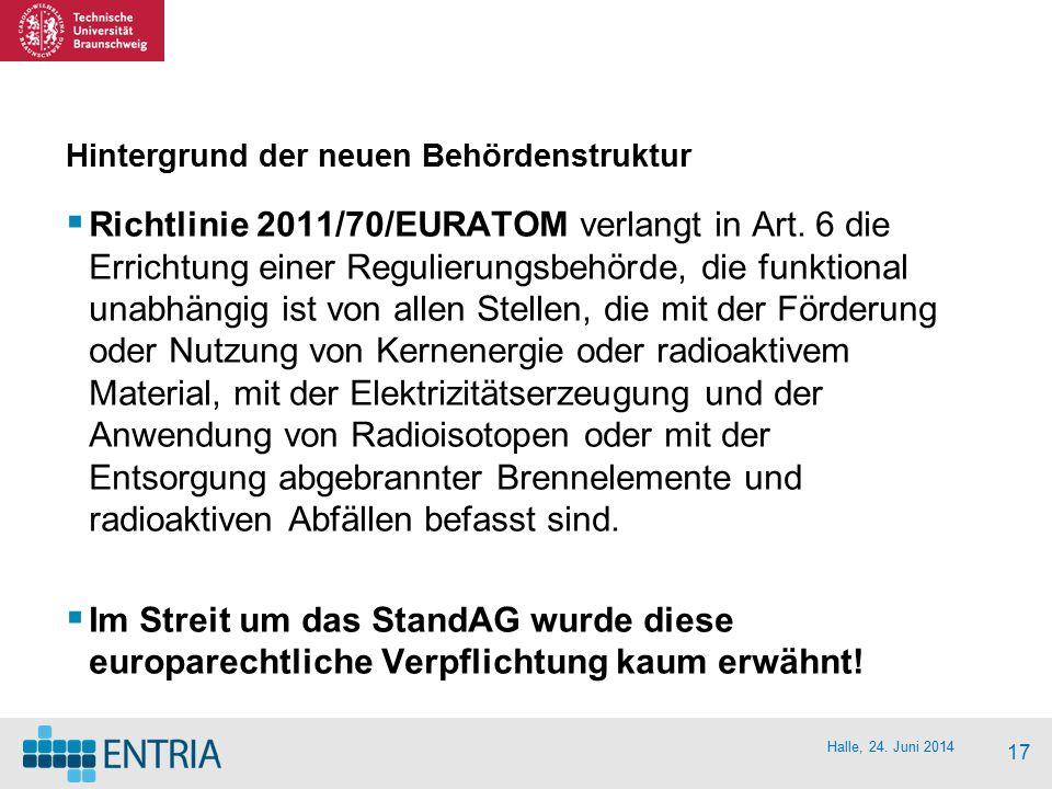 Halle, 24. Juni 2014 17 Hintergrund der neuen Behördenstruktur  Richtlinie 2011/70/EURATOM verlangt in Art. 6 die Errichtung einer Regulierungsbehörd
