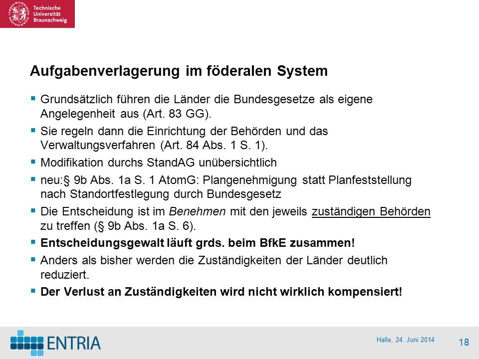 Halle, 24. Juni 2014 18 Aufgabenverlagerung im föderalen System  Grundsätzlich führen die Länder die Bundesgesetze als eigene Angelegenheit aus (Art.