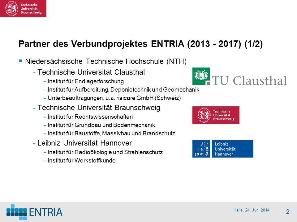 2 Partner des Verbundprojektes ENTRIA (2013 - 2017) (1/2)  Niedersächsische Technische Hochschule (NTH) -Technische Universität Clausthal -Institut f