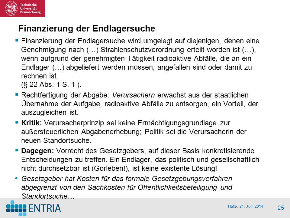 Halle, 24. Juni 2014 25 Finanzierung der Endlagersuche  Finanzierung der Endlagersuche wird umgelegt auf diejenigen, denen eine Genehmigung nach (…)