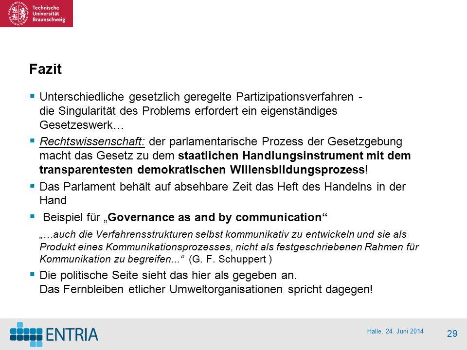 Halle, 24. Juni 2014 29 Fazit  Unterschiedliche gesetzlich geregelte Partizipationsverfahren - die Singularität des Problems erfordert ein eigenständ
