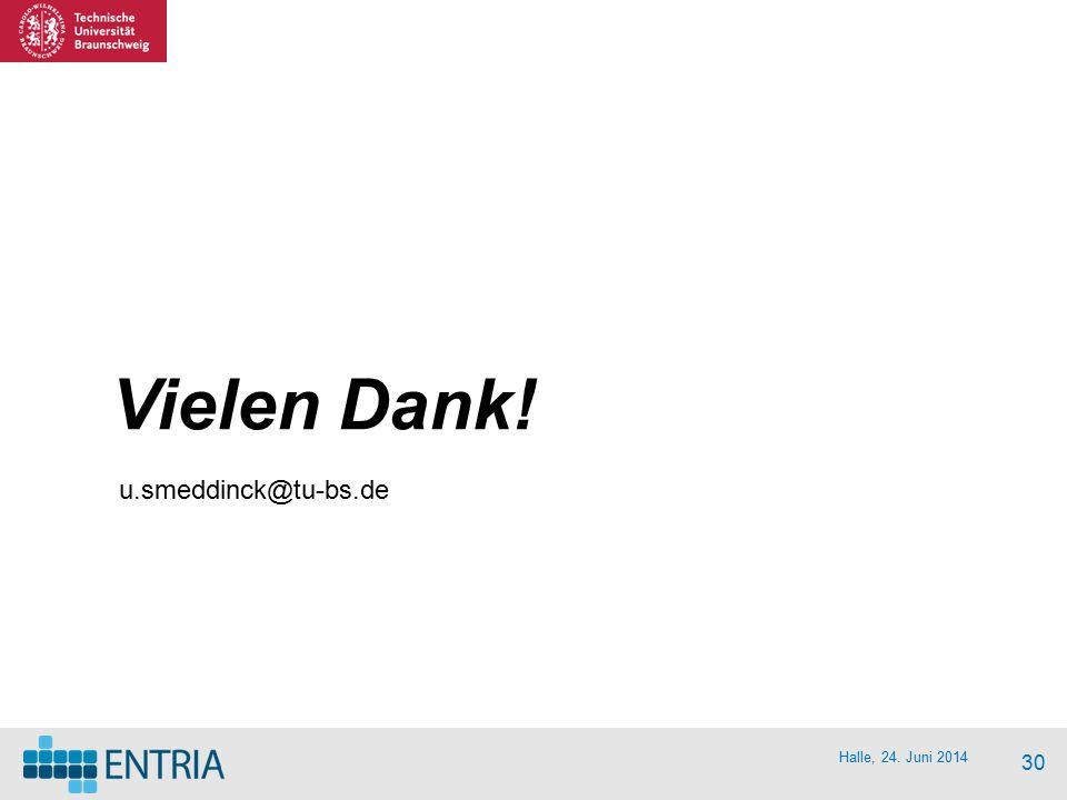 Halle, 24. Juni 2014 30 Vielen Dank! u.smeddinck@tu-bs.de