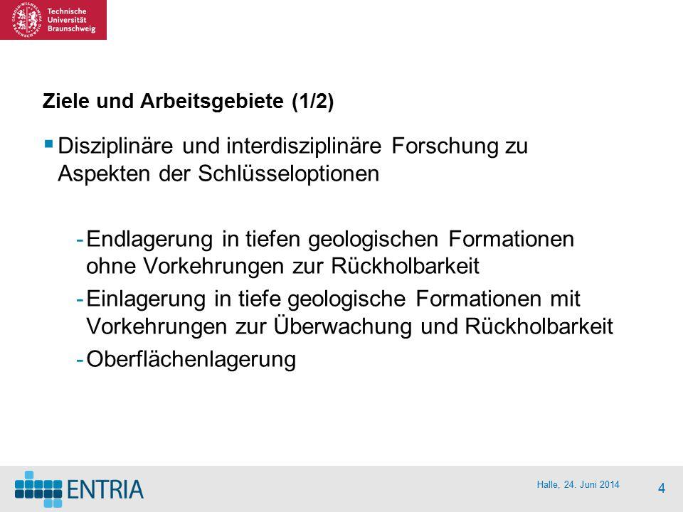 Halle, 24. Juni 2014 4 Ziele und Arbeitsgebiete (1/2)  Disziplinäre und interdisziplinäre Forschung zu Aspekten der Schlüsseloptionen -Endlagerung in