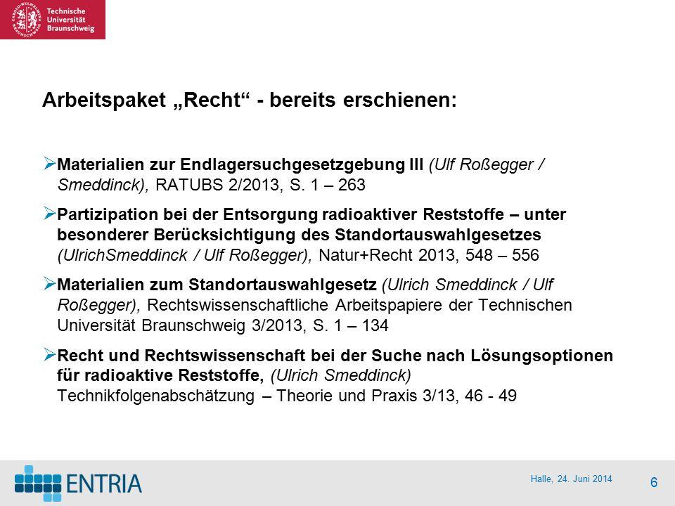 "Halle, 24. Juni 2014 6 Arbeitspaket ""Recht"" - bereits erschienen:  Materialien zur Endlagersuchgesetzgebung III (Ulf Roßegger / Smeddinck), RATUBS 2/"