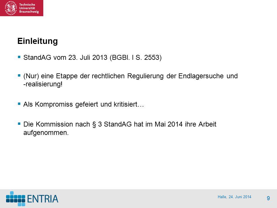Halle, 24. Juni 2014 9 Einleitung  StandAG vom 23. Juli 2013 (BGBl. I S. 2553)  (Nur) eine Etappe der rechtlichen Regulierung der Endlagersuche und