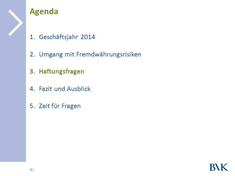 | 1.Geschäftsjahr 2014 2.Umgang mit Fremdwährungsrisiken 3.Haftungsfragen 4.Fazit und Ausblick 5.Zeit für Fragen Agenda 16