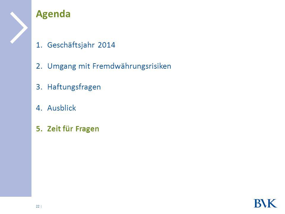 | 1.Geschäftsjahr 2014 2.Umgang mit Fremdwährungsrisiken 3.Haftungsfragen 4.Ausblick 5.Zeit für Fragen Agenda 22
