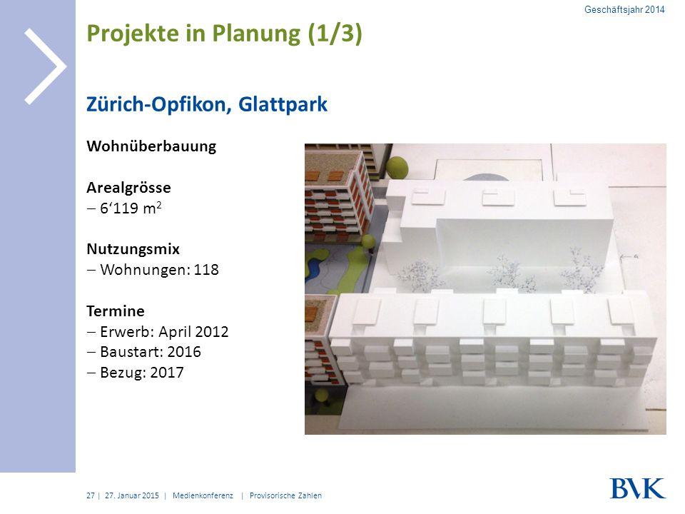 | Zürich-Opfikon, Glattpark Wohnüberbauung Arealgrösse  6'119 m 2 Nutzungsmix  Wohnungen: 118 Termine  Erwerb: April 2012  Baustart: 2016  Bezug:
