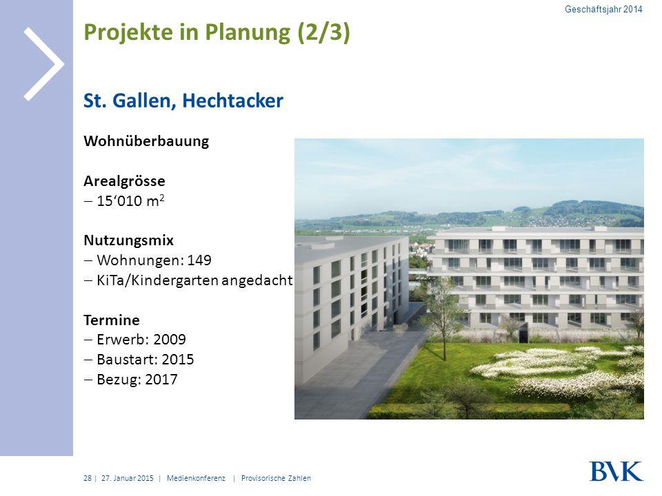 | St. Gallen, Hechtacker Wohnüberbauung Arealgrösse  15'010 m 2 Nutzungsmix  Wohnungen: 149  KiTa/Kindergarten angedacht Termine  Erwerb: 2009  B