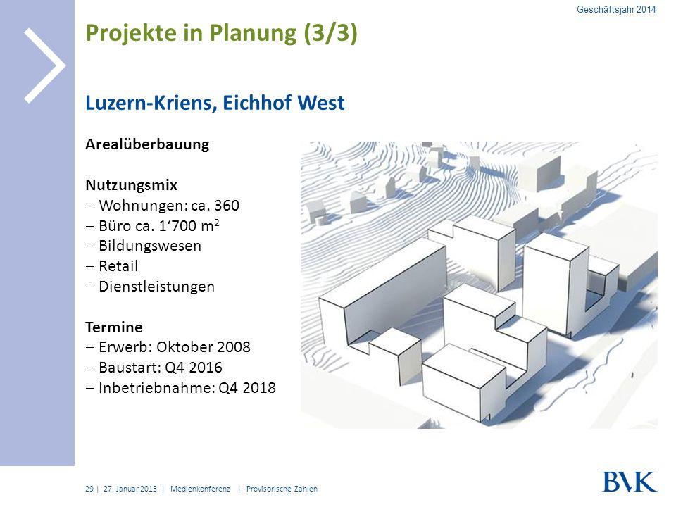 | Luzern-Kriens, Eichhof West Arealüberbauung Nutzungsmix  Wohnungen: ca. 360  Büro ca. 1'700 m 2  Bildungswesen  Retail  Dienstleistungen Termin