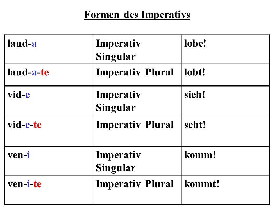 Formen des Imperativs laud-aImperativ Singular lobe! laud-a-teImperativ Plurallobt! vid-eImperativ Singular sieh! vid-e-teImperativ Pluralseht! ven-iI