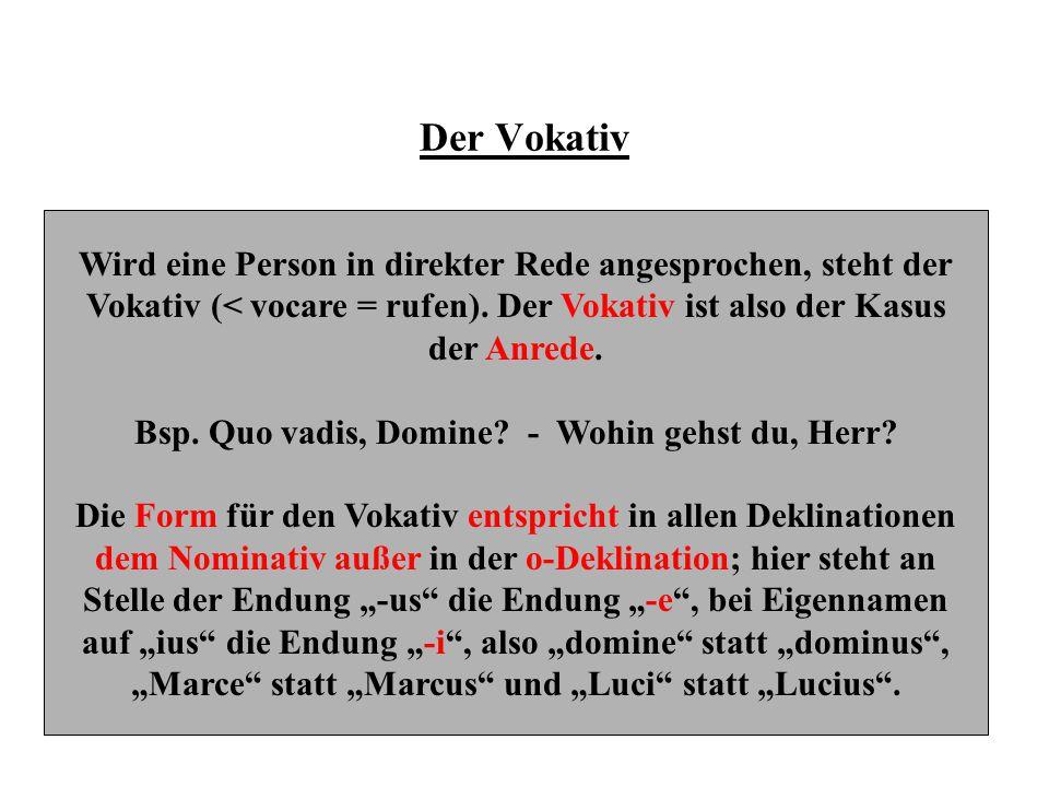 Der Vokativ Wird eine Person in direkter Rede angesprochen, steht der Vokativ (< vocare = rufen). Der Vokativ ist also der Kasus der Anrede. Bsp. Quo