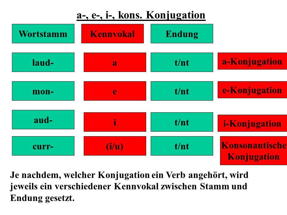a-, e-, i-, kons. Konjugation WortstammKennvokalEndung laud- mon- aud- curr- a e i (i/u) t/nt a-Konjugation e-Konjugation i-Konjugation Konsonantische