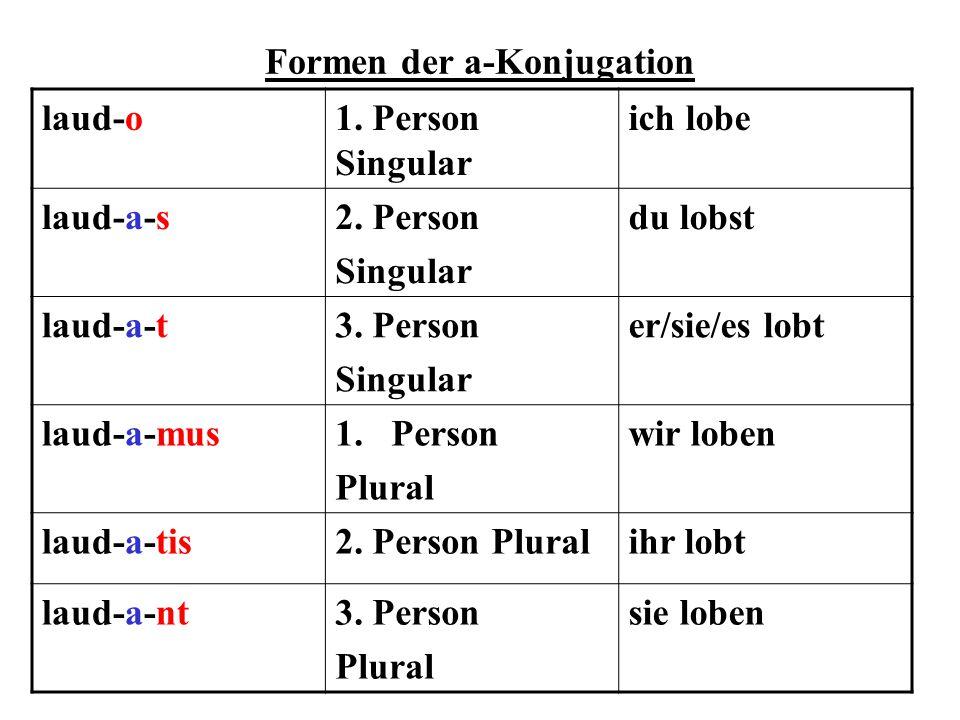 Formen der a-Konjugation laud-o1. Person Singular ich lobe laud-a-s2. Person Singular du lobst laud-a-t3. Person Singular er/sie/es lobt laud-a-mus1.P