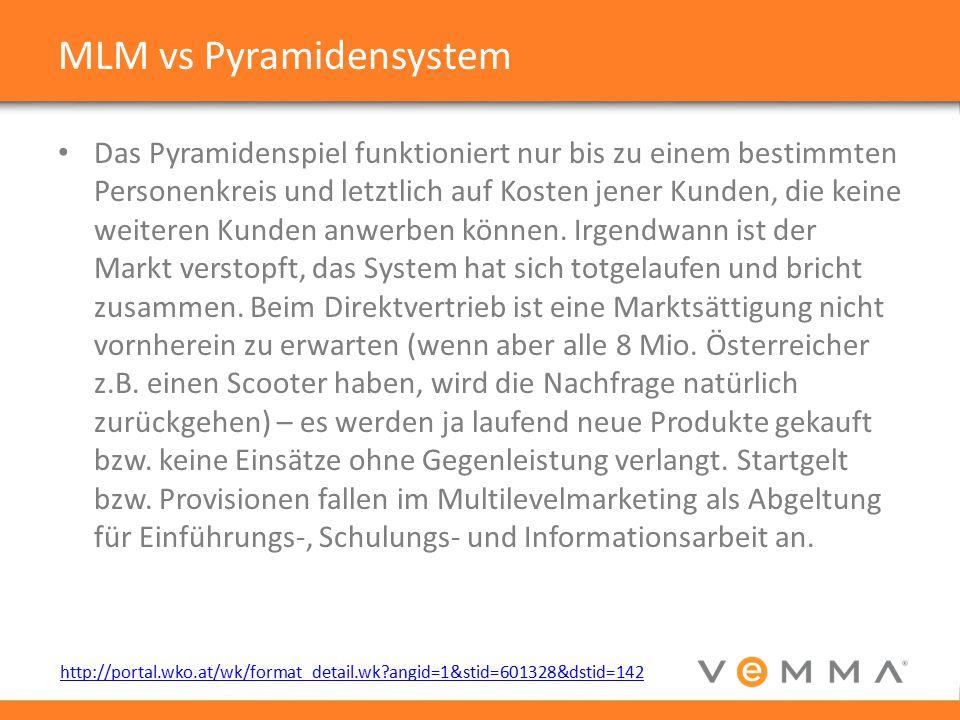 MLM vs Pyramidensystem Das Pyramidenspiel funktioniert nur bis zu einem bestimmten Personenkreis und letztlich auf Kosten jener Kunden, die keine weiteren Kunden anwerben können.