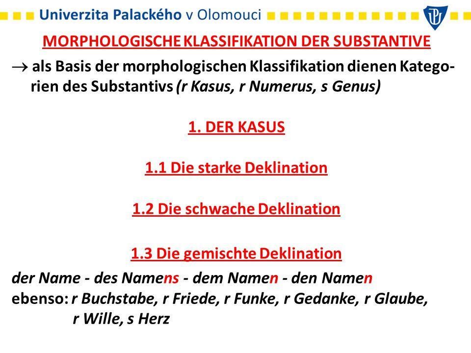 MORPHOLOGISCHE KLASSIFIKATION DER SUBSTANTIVE  als Basis der morphologischen Klassifikation dienen Katego- rien des Substantivs (r Kasus, r Numerus,
