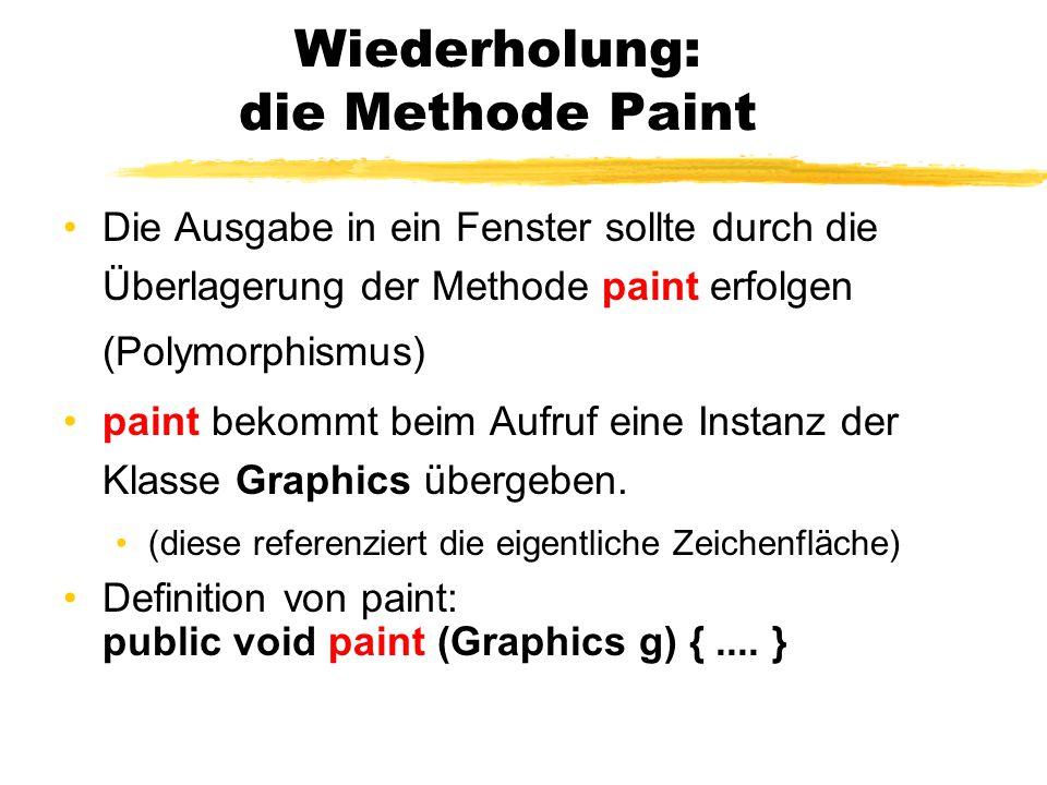 Zeichnen von Polygonen Methode drawPolygon(....) Methode von Graphics (Aufruf in paint(Graphics g)) drawPolygon(x-Array,y-Array, Anzahl_Punkte); Beispiel: int[] x = {2, 7, 9}; int[] y = {5, 9, 22}; g.setColor(Color.blue); g.drawPolygon(x,y, 3); fillPolygon(...) analog
