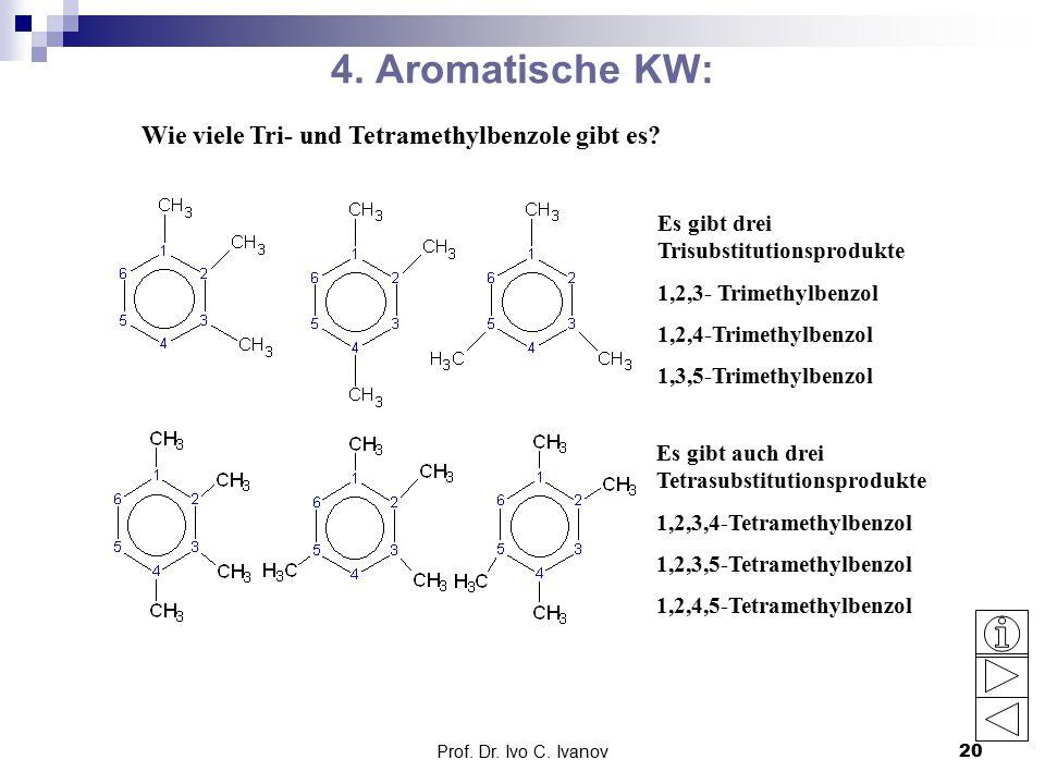 Prof.Dr. Ivo C. Ivanov20 4. Aromatische KW: Wie viele Tri- und Tetramethylbenzole gibt es.