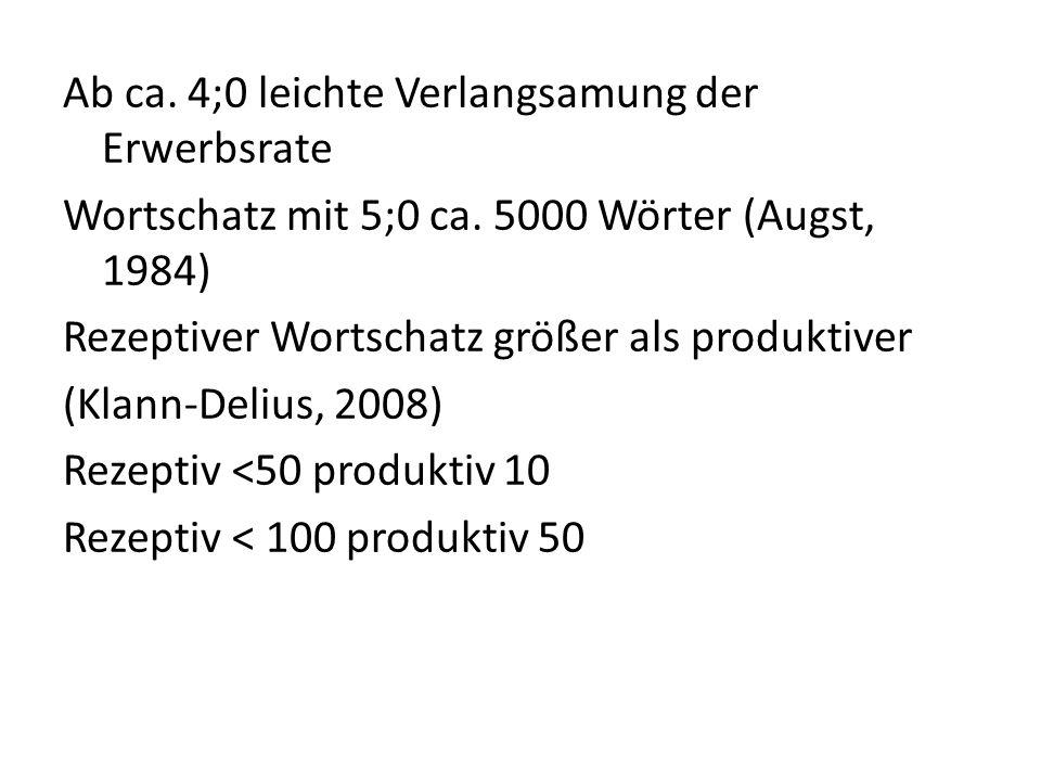 Ab ca. 4;0 leichte Verlangsamung der Erwerbsrate Wortschatz mit 5;0 ca. 5000 Wörter (Augst, 1984) Rezeptiver Wortschatz größer als produktiver (Klann-