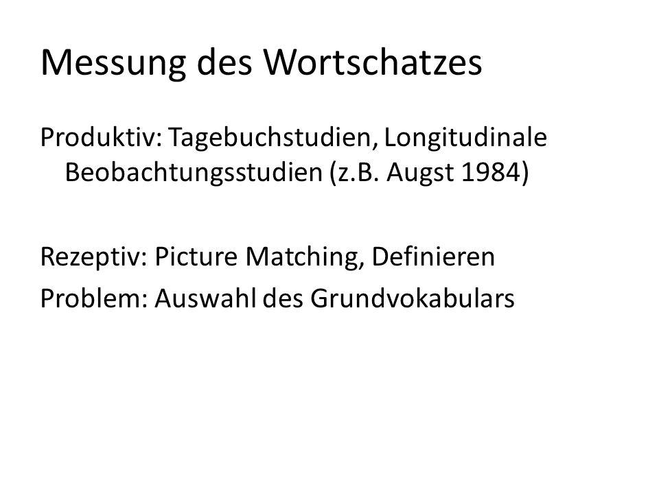 Messung des Wortschatzes Produktiv: Tagebuchstudien, Longitudinale Beobachtungsstudien (z.B. Augst 1984) Rezeptiv: Picture Matching, Definieren Proble