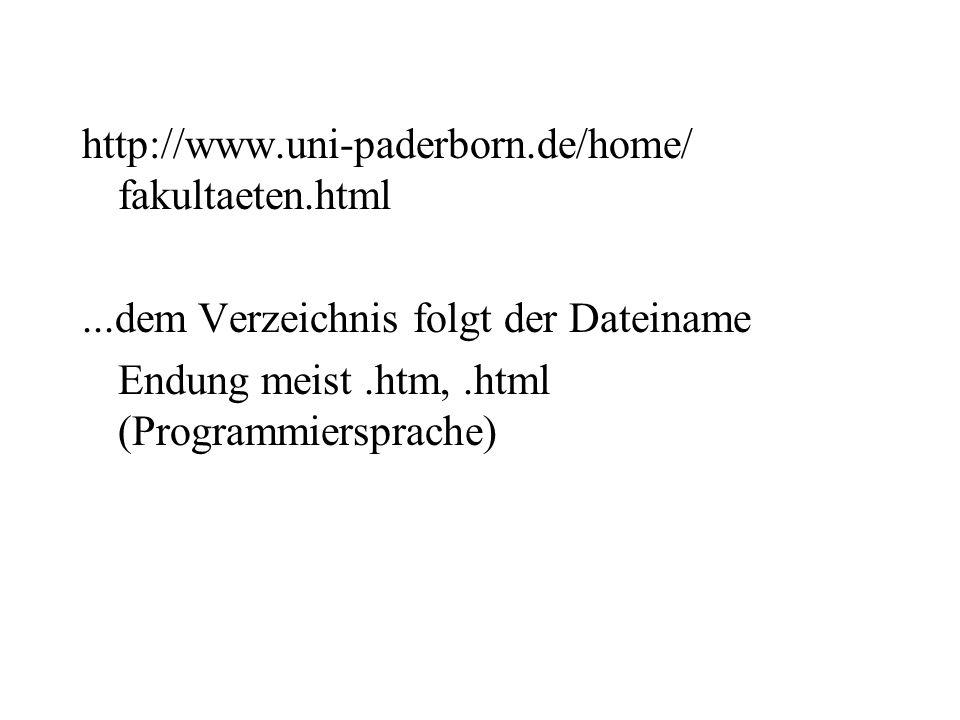 http://www.uni-paderborn.de/home/ fakultaeten.html...dem Verzeichnis folgt der Dateiname Endung meist.htm,.html (Programmiersprache)