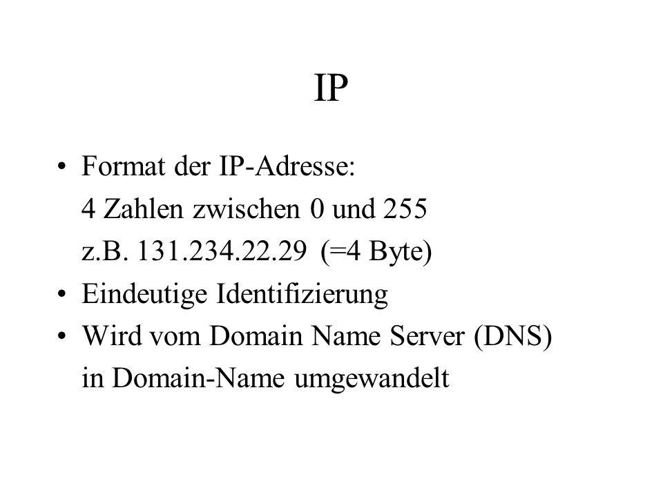 IP Format der IP-Adresse: 4 Zahlen zwischen 0 und 255 z.B.