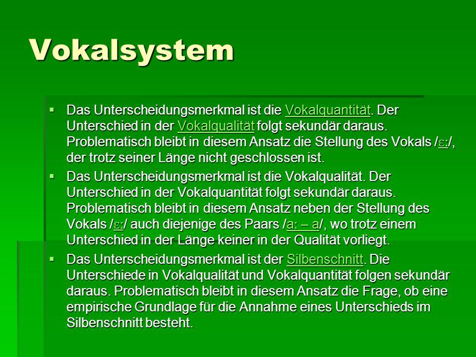 Vokalsystem  Geschlossene (lange) Vokale werden in unbetonter Position meistens kurz ausgesprochen, z.