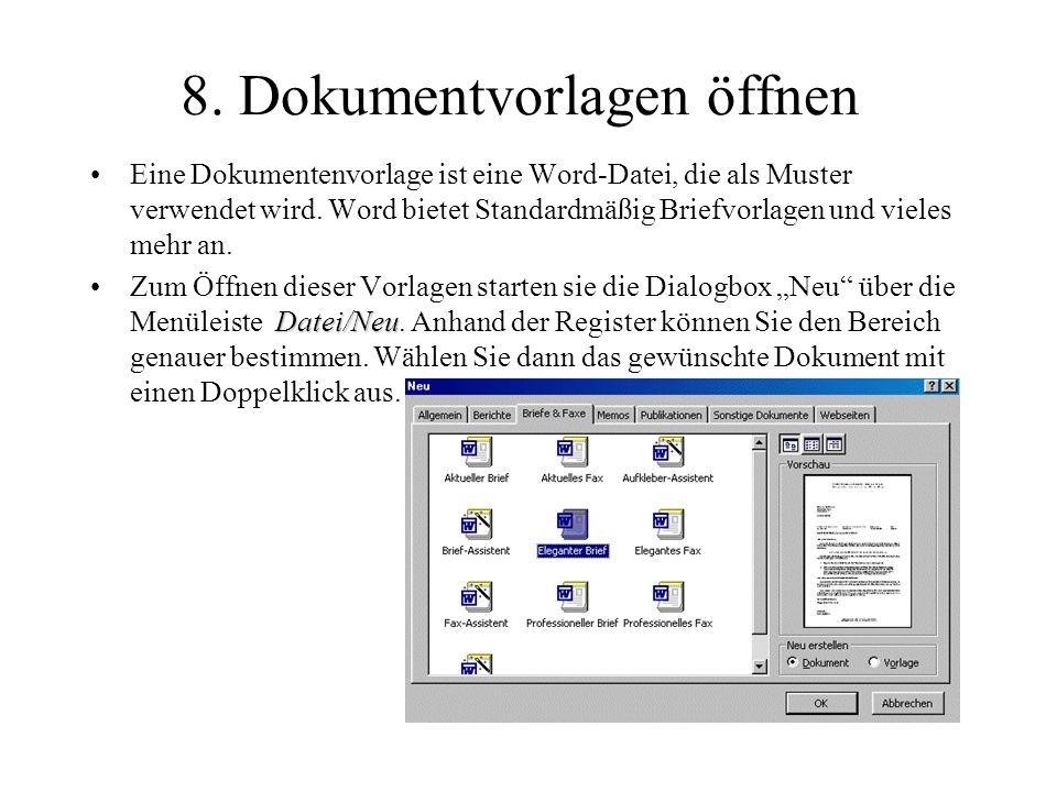 9.Dokumentenvorlagen anlegen Sie haben ein von Ihnen erstelltes Dokument: 1.