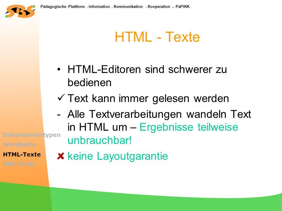 Pädagogische Plattform - Information - Kommunikation - Kooperation -- PäPIKK Gestaltete – Texte (Word, StarOffice) Endung *.rtf verwenden.