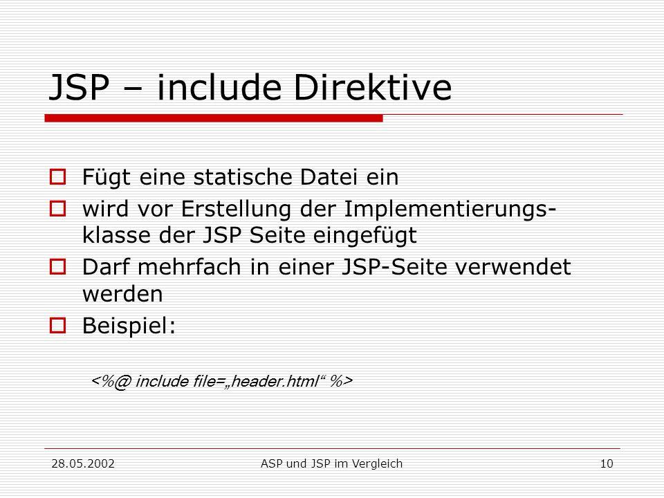 28.05.2002ASP und JSP im Vergleich10 JSP – include Direktive  Fügt eine statische Datei ein  wird vor Erstellung der Implementierungs- klasse der JSP Seite eingefügt  Darf mehrfach in einer JSP-Seite verwendet werden  Beispiel: