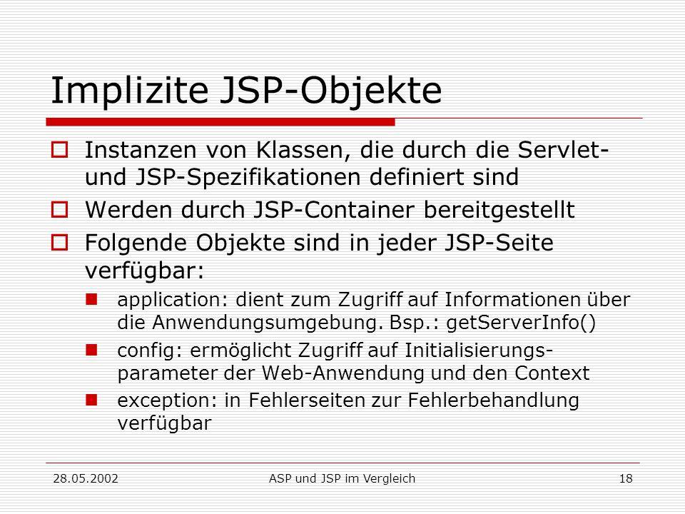 28.05.2002ASP und JSP im Vergleich18 Implizite JSP-Objekte  Instanzen von Klassen, die durch die Servlet- und JSP-Spezifikationen definiert sind  Werden durch JSP-Container bereitgestellt  Folgende Objekte sind in jeder JSP-Seite verfügbar: application: dient zum Zugriff auf Informationen über die Anwendungsumgebung.