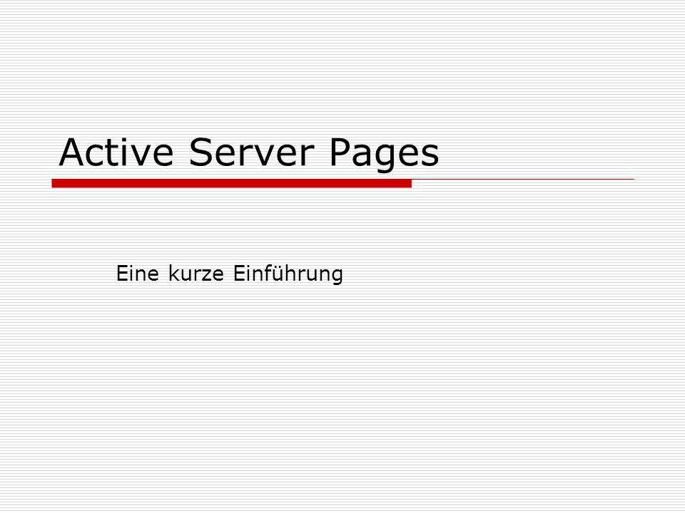 Active Server Pages Eine kurze Einführung