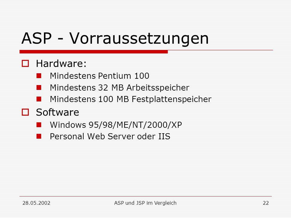 28.05.2002ASP und JSP im Vergleich22 ASP - Vorraussetzungen  Hardware: Mindestens Pentium 100 Mindestens 32 MB Arbeitsspeicher Mindestens 100 MB Festplattenspeicher  Software Windows 95/98/ME/NT/2000/XP Personal Web Server oder IIS