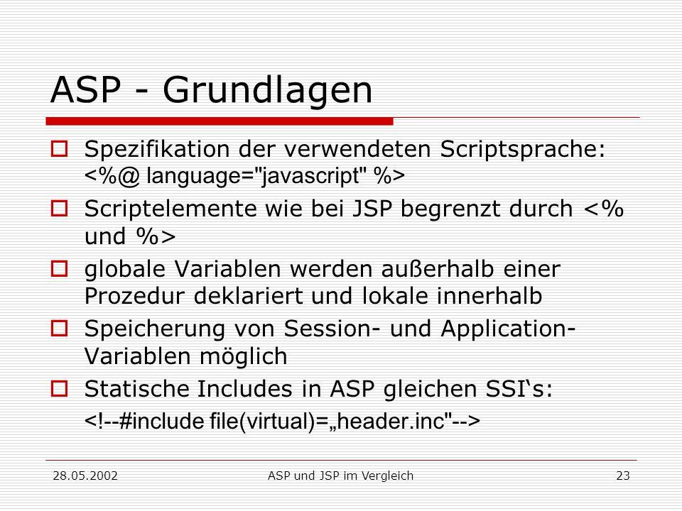 28.05.2002ASP und JSP im Vergleich23 ASP - Grundlagen  Spezifikation der verwendeten Scriptsprache:  Scriptelemente wie bei JSP begrenzt durch  globale Variablen werden außerhalb einer Prozedur deklariert und lokale innerhalb  Speicherung von Session- und Application- Variablen möglich  Statische Includes in ASP gleichen SSI's: