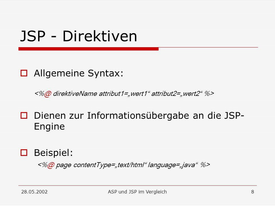 28.05.2002ASP und JSP im Vergleich8 JSP - Direktiven  Allgemeine Syntax:  Dienen zur Informationsübergabe an die JSP- Engine  Beispiel:
