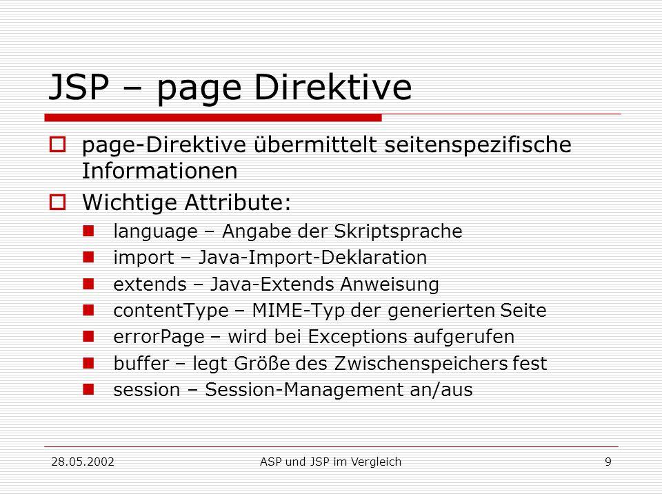 28.05.2002ASP und JSP im Vergleich9 JSP – page Direktive  page-Direktive übermittelt seitenspezifische Informationen  Wichtige Attribute: language – Angabe der Skriptsprache import – Java-Import-Deklaration extends – Java-Extends Anweisung contentType – MIME-Typ der generierten Seite errorPage – wird bei Exceptions aufgerufen buffer – legt Größe des Zwischenspeichers fest session – Session-Management an/aus
