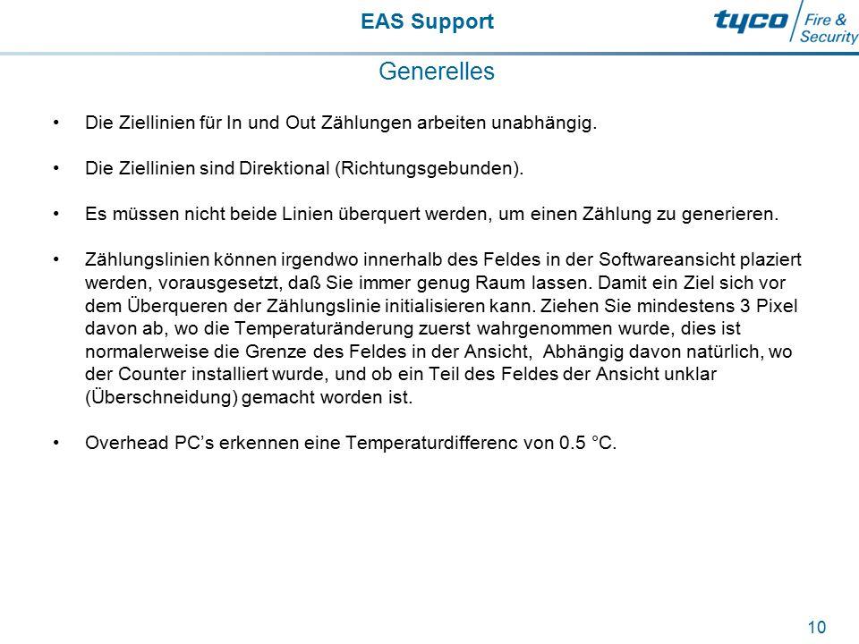 EAS Support 10 Generelles Die Ziellinien für In und Out Zählungen arbeiten unabhängig. Die Ziellinien sind Direktional (Richtungsgebunden). Es müssen