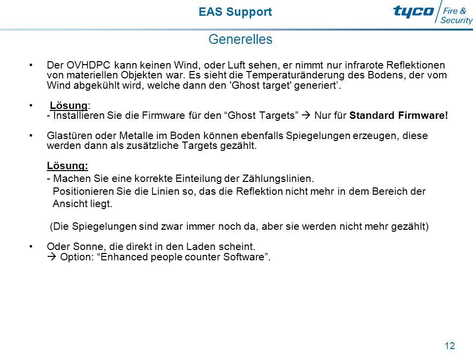 EAS Support 12 Generelles Der OVHDPC kann keinen Wind, oder Luft sehen, er nimmt nur infrarote Reflektionen von materiellen Objekten war. Es sieht die