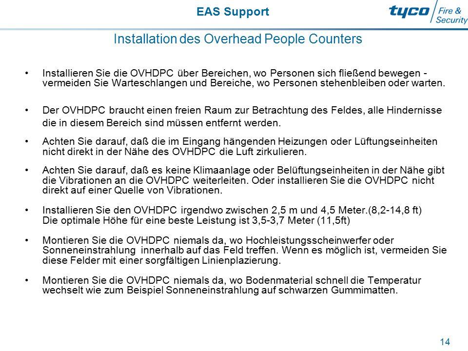 EAS Support 14 Installation des Overhead People Counters Installieren Sie die OVHDPC über Bereichen, wo Personen sich fließend bewegen - vermeiden Sie