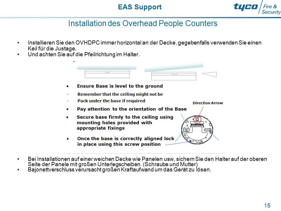 EAS Support 15 Installation des Overhead People Counters Installieren Sie den OVHDPC immer horizontal an der Decke, gegebenfalls verwenden Sie einen K