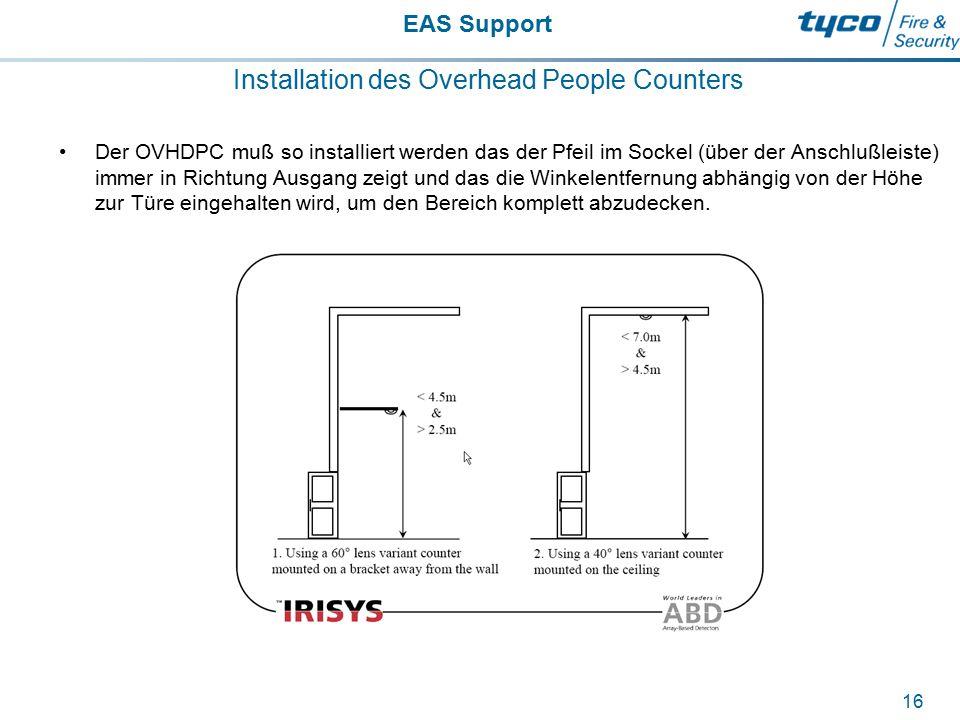 EAS Support 16 Installation des Overhead People Counters Der OVHDPC muß so installiert werden das der Pfeil im Sockel (über der Anschlußleiste) immer
