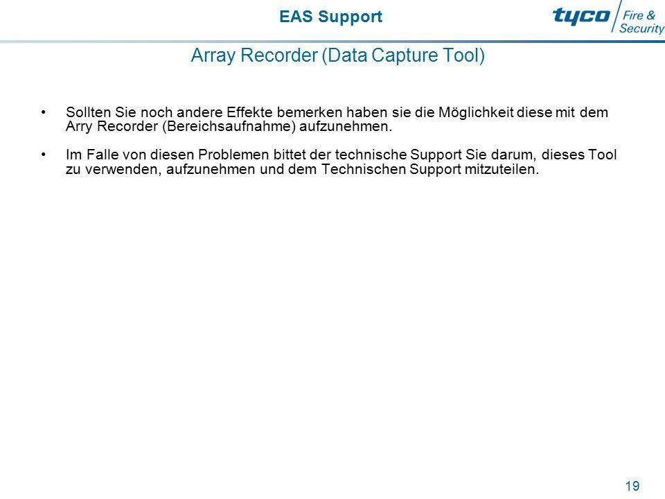 EAS Support 19 Array Recorder (Data Capture Tool) Sollten Sie noch andere Effekte bemerken haben sie die Möglichkeit diese mit dem Arry Recorder (Bere