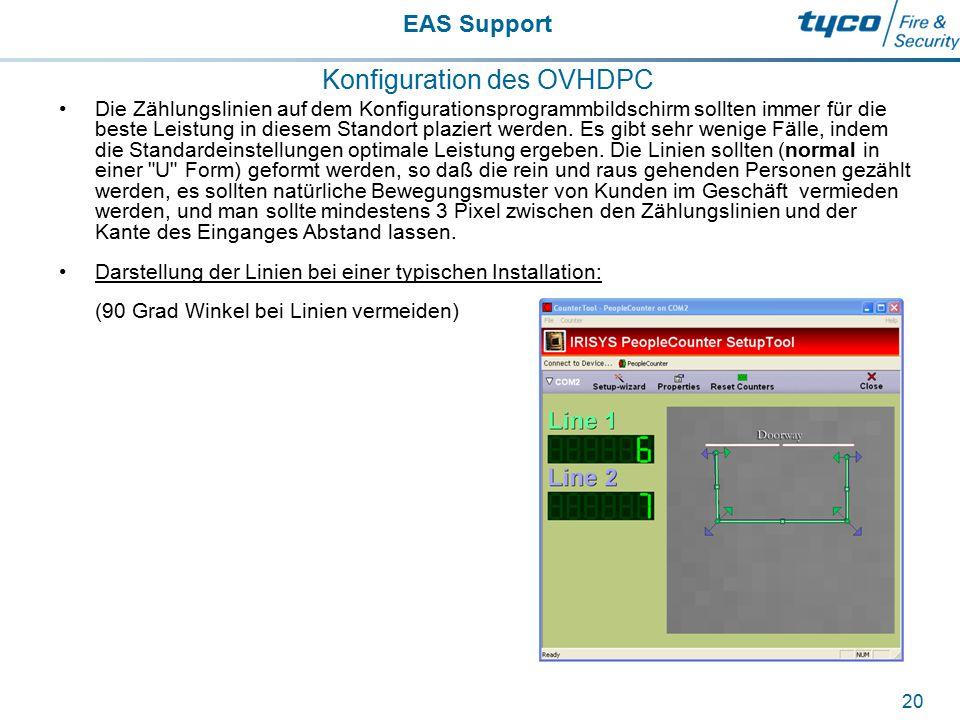 EAS Support 20 Konfiguration des OVHDPC Die Zählungslinien auf dem Konfigurationsprogrammbildschirm sollten immer für die beste Leistung in diesem Sta